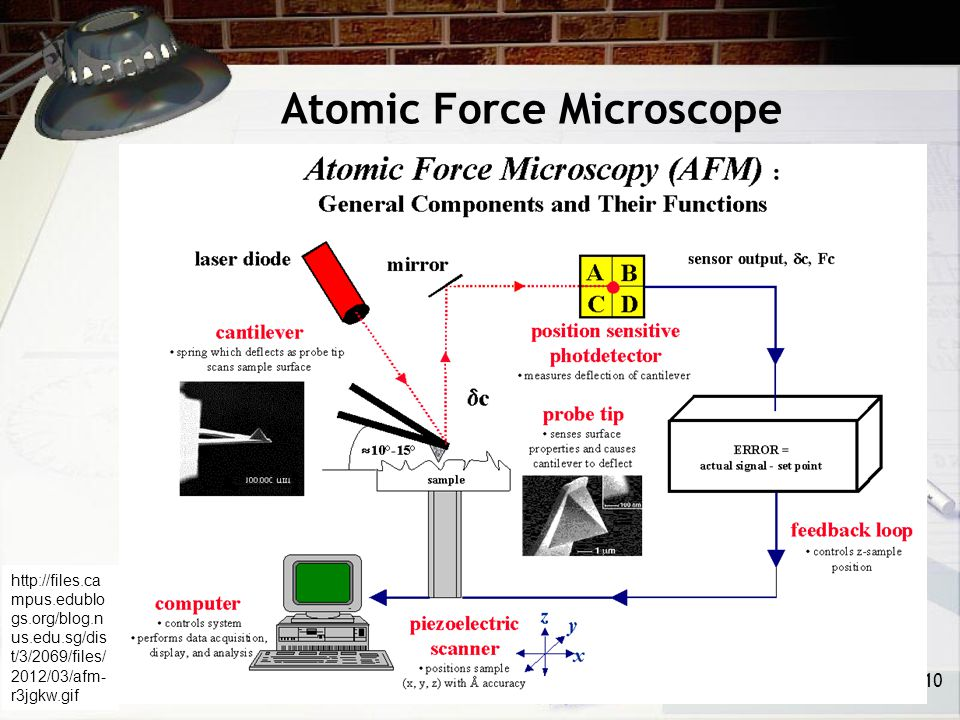 Atomic Force Microscope 10 http://files.ca mpus.edublo gs.org/blog.n us.edu.sg/dis t/3/2069/files/ 2012/03/afm- r3jgkw.gif