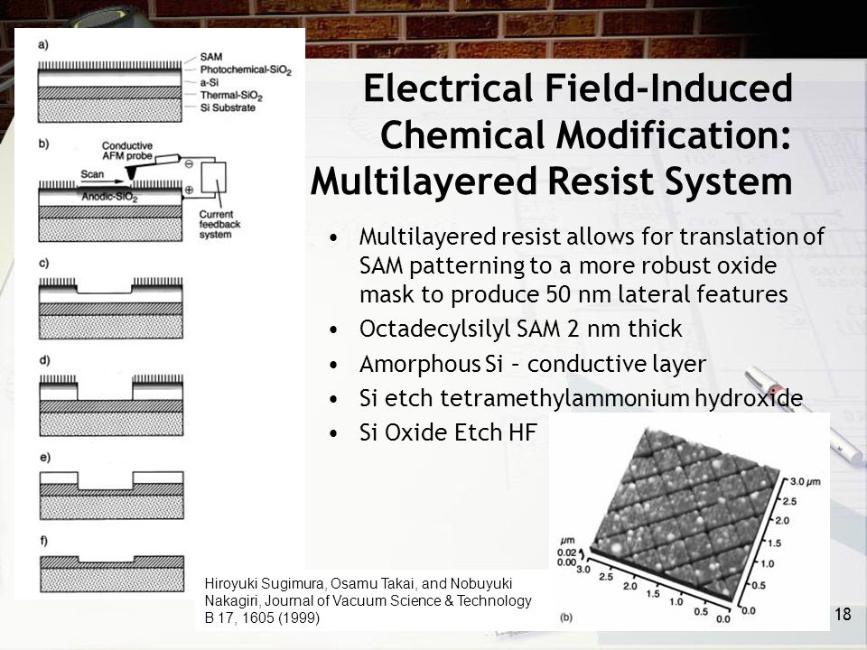 Electrical Field-Induced Chemical Modification: Multilayered Resist System Multilayered resist allows for translation of SAM patterning to a more robust oxide mask to produce 50 nm lateral features Octadecylsilyl SAM 2 nm thick Amorphous Si – conductive layer Si etch tetramethylammonium hydroxide Si Oxide Etch HF 18 Hiroyuki Sugimura, Osamu Takai, and Nobuyuki Nakagiri, Journal of Vacuum Science & Technology B 17, 1605 (1999)