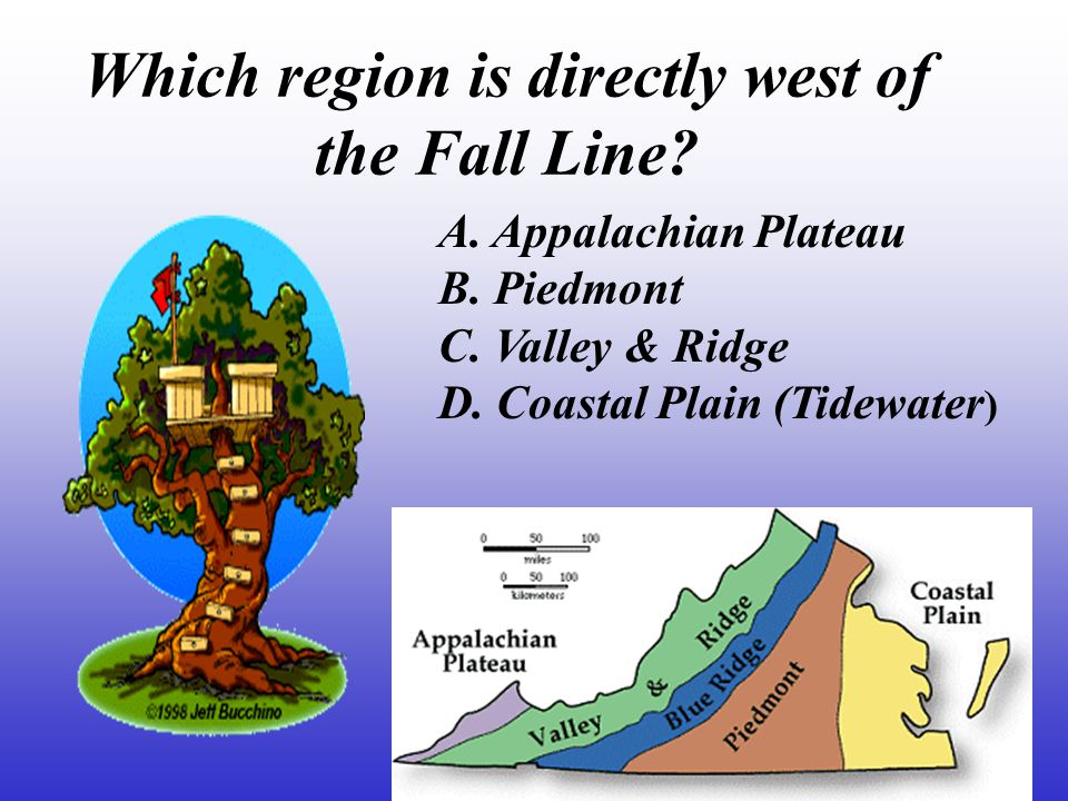 Which region is farthest west.A. Appalachian Plateau B.