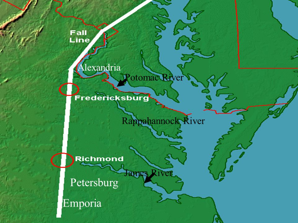 Fall Line cities and the Rivers they developed along Alexandria was developed along the Potomac River.