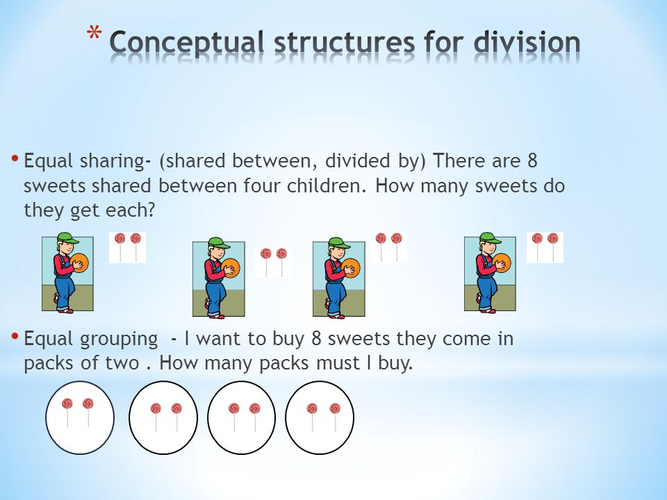Equal sharing- (shared between, divided by) There are 8 sweets shared between four children. How many sweets do they get each? Equal grouping - I want
