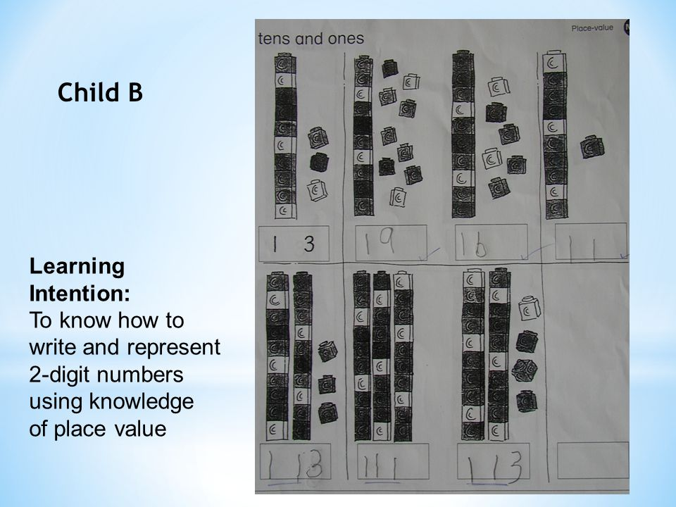 Child B Learning Intention: To know how to write and represent 2-digit numbers using knowledge of place value