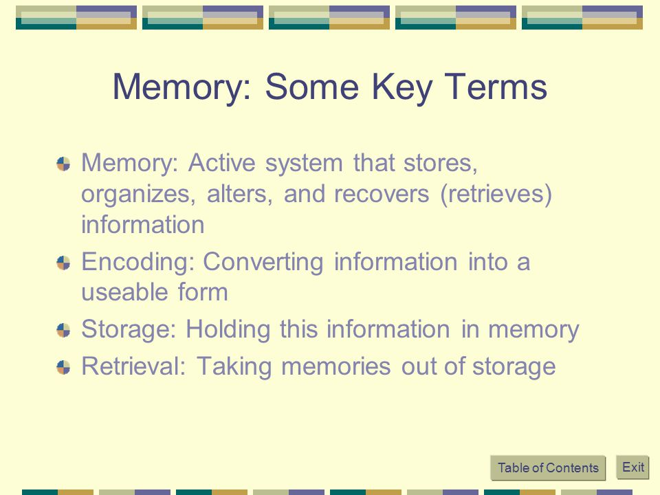 Memory: Some Key Terms Memory: Active system that stores, organizes, alters, and recovers (retrieves) information Encoding: Converting information int