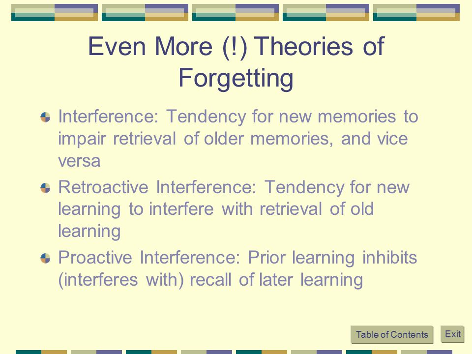 Even More (!) Theories of Forgetting Interference: Tendency for new memories to impair retrieval of older memories, and vice versa Retroactive Interfe
