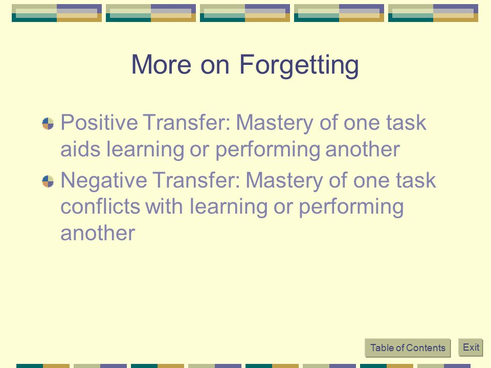 More on Forgetting Positive Transfer: Mastery of one task aids learning or performing another Negative Transfer: Mastery of one task conflicts with le