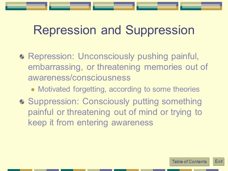 Repression and Suppression Repression: Unconsciously pushing painful, embarrassing, or threatening memories out of awareness/consciousness Motivated f