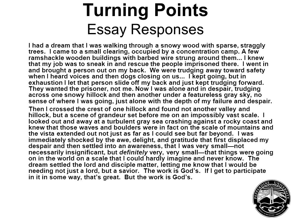 Turning Points Essay Responses I had a dream that I was walking through a snowy wood with sparse, straggly trees.