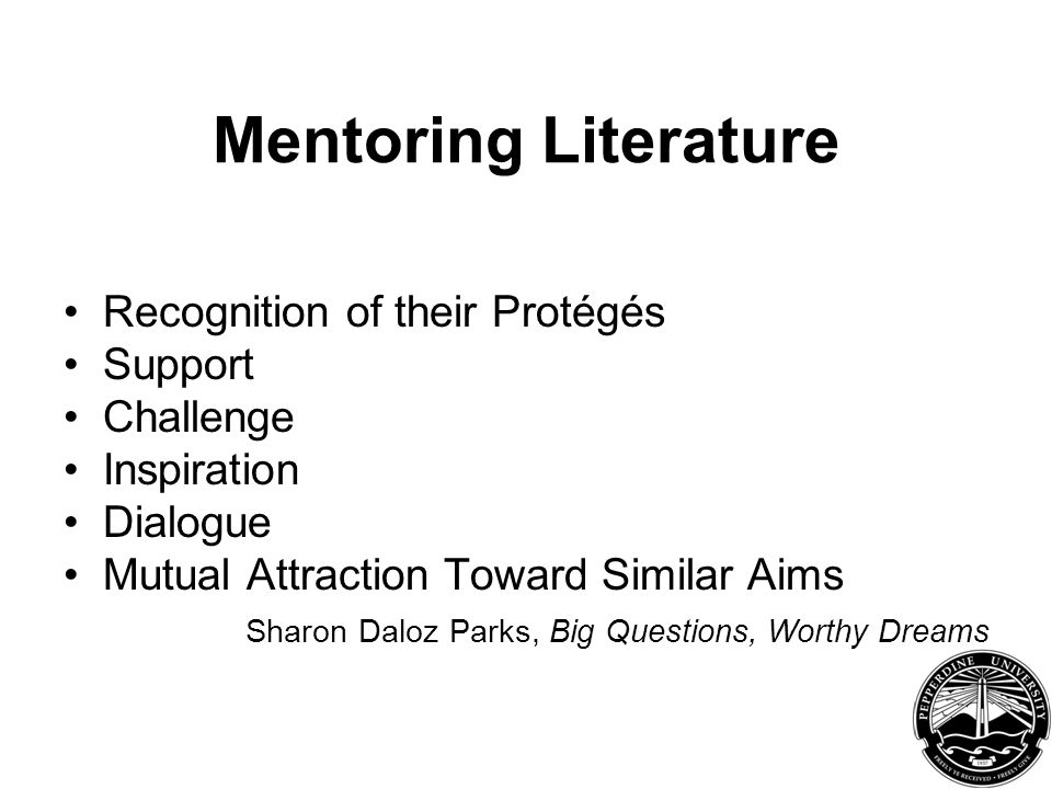 Mentoring Literature Recognition of their Protégés Support Challenge Inspiration Dialogue Mutual Attraction Toward Similar Aims Sharon Daloz Parks, Big Questions, Worthy Dreams