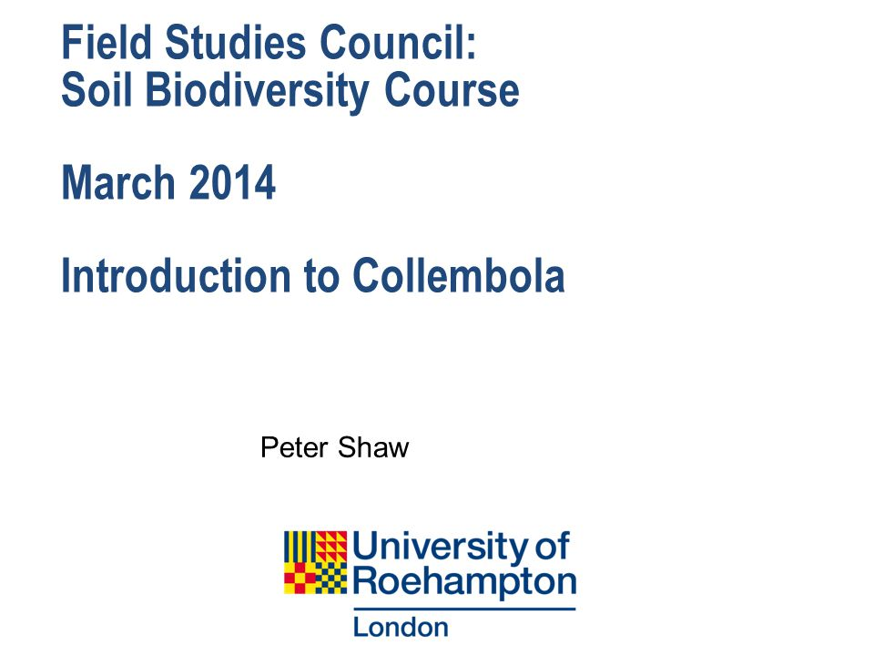 Field Studies Council: Soil Biodiversity Course March 2014 Introduction to Collembola Peter Shaw