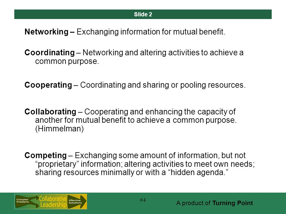 Slide 2 A product of Turning Point #4 Networking – Exchanging information for mutual benefit.