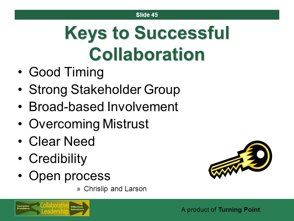 Slide 45 A product of Turning Point Keys to Successful Collaboration Good Timing Strong Stakeholder Group Broad-based Involvement Overcoming Mistrust Clear Need Credibility Open process »Chrislip and Larson