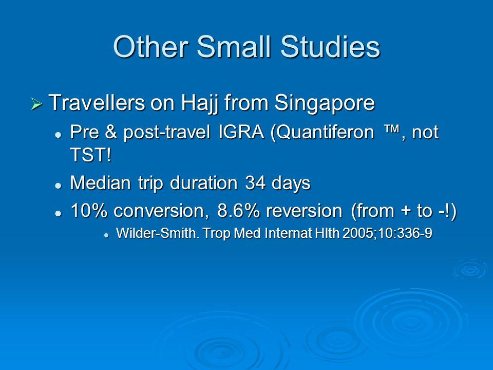 Other Small Studies  Travellers on Hajj from Singapore Pre & post-travel IGRA (Quantiferon ™, not TST.