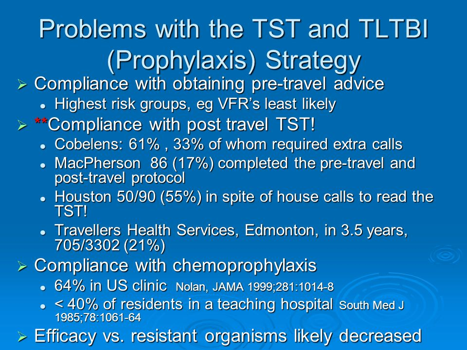 Problems with the TST and TLTBI (Prophylaxis) Strategy  Compliance with obtaining pre-travel advice Highest risk groups, eg VFR's least likely Highest risk groups, eg VFR's least likely  **Compliance with post travel TST.