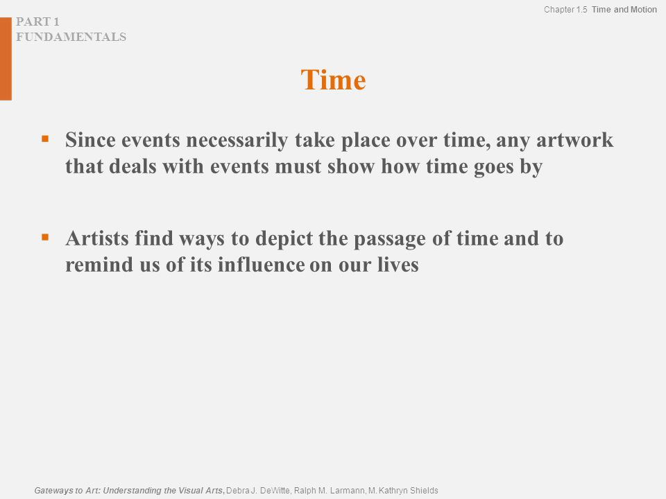 PART 1 FUNDAMENTALS Chapter 1.5 Time and Motion Gateways to Art: Understanding the Visual Arts, Debra J. DeWitte, Ralph M. Larmann, M. Kathryn Shields