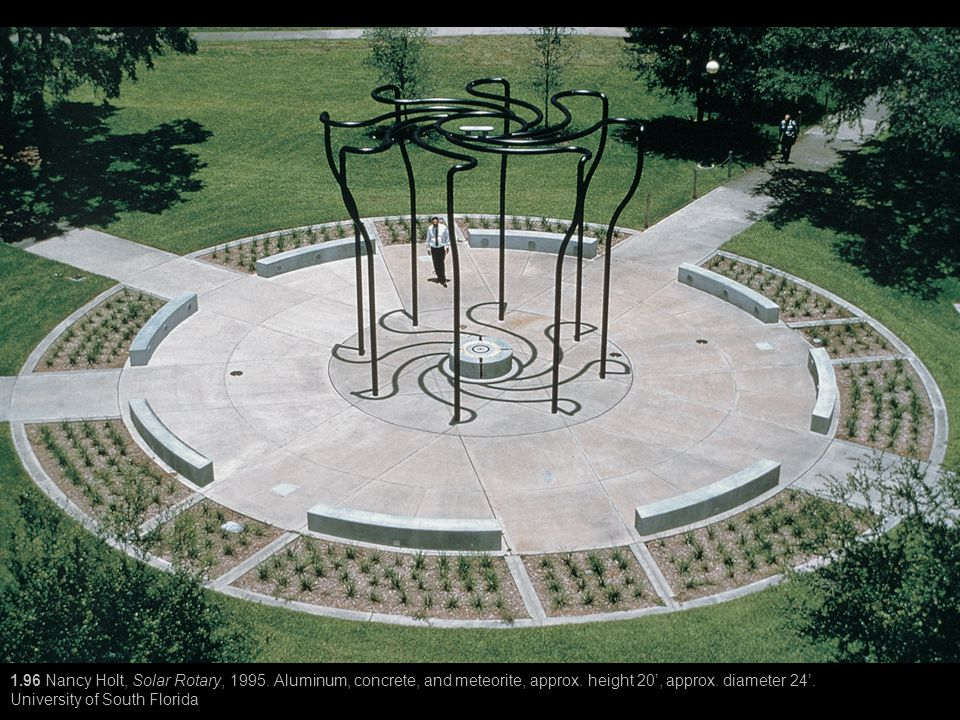 1.96 Nancy Holt, Solar Rotary, 1995. Aluminum, concrete, and meteorite, approx. height 20', approx. diameter 24'. University of South Florida