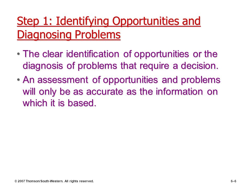 © 2007 Thomson/South-Western. All rights reserved.6–6 Step 1: Identifying Opportunities and Diagnosing Problems The clear identification of opportunit