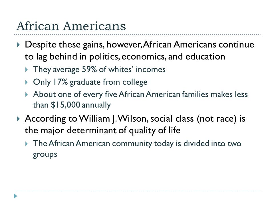 African Americans  Despite these gains, however, African Americans continue to lag behind in politics, economics, and education  They average 59% of
