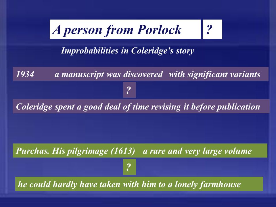 A person from Porlock ? Coleridge spent a good deal of time revising it before publication Improbabilities in Coleridge's story 1934a manuscript was d