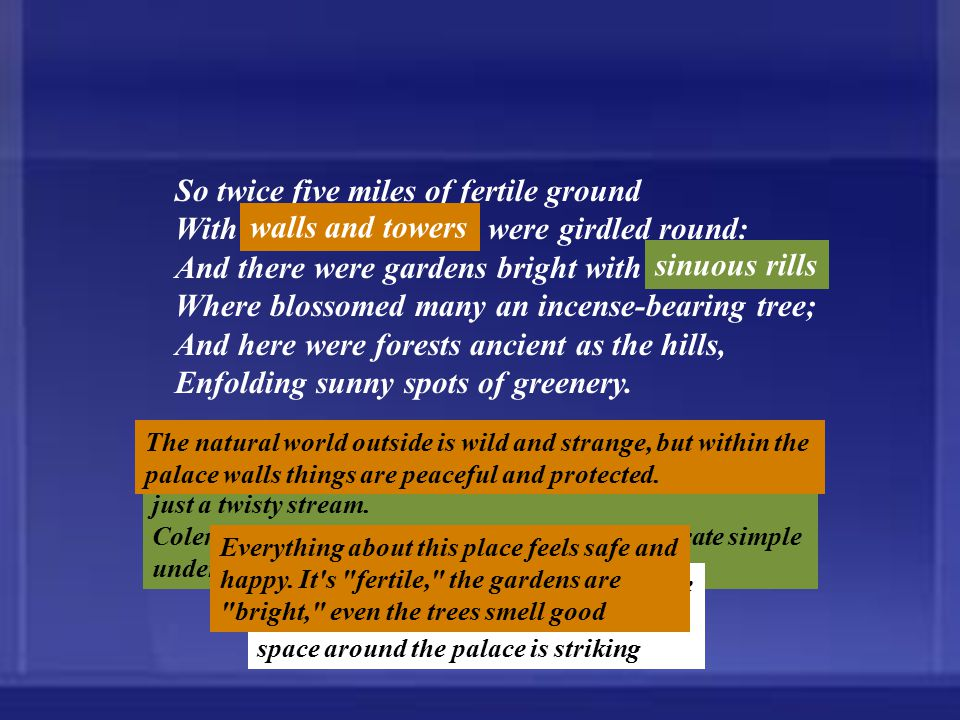 So twice five miles of fertile ground With walls and towers were girdled round: And there were gardens bright with sinuous rills, Where blossomed many