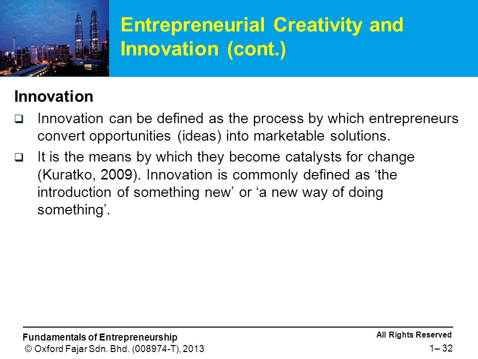 All Rights Reserved Fundamentals of Entrepreneurship © Oxford Fajar Sdn.