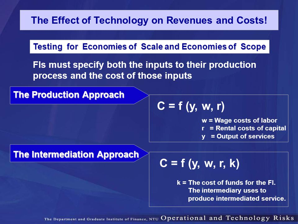 Testing for Economies of Scale and Economies of Scope FIs must specify both the inputs to their production process and the cost of those inputs The Pr