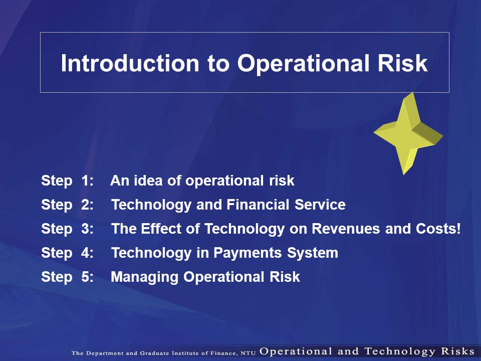Step 1: An idea of operational risk Step 2: Technology and Financial Service Step 3: The Effect of Technology on Revenues and Costs! Step 4: Technolog