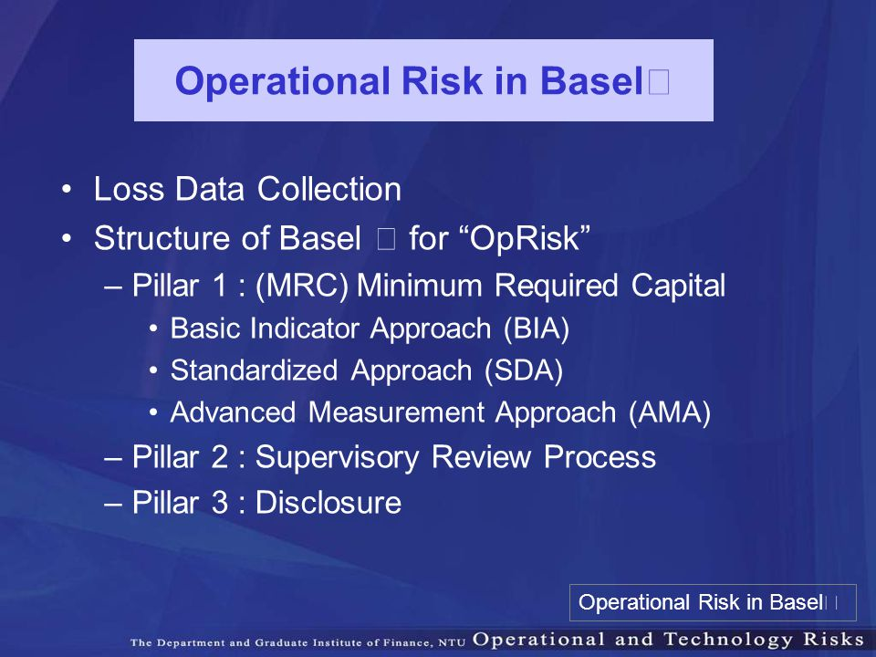 "Operational Risk in Basel Ⅱ Loss Data Collection Structure of Basel Ⅱ for ""OpRisk"" –Pillar 1 : (MRC) Minimum Required Capital Basic Indicator Approach"