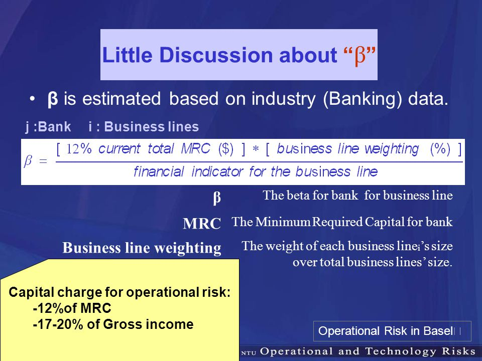 "Little Discussion about "" β "" β is estimated based on industry (Banking) data. β The beta for bank for business line MRC The Minimum Required Capital"