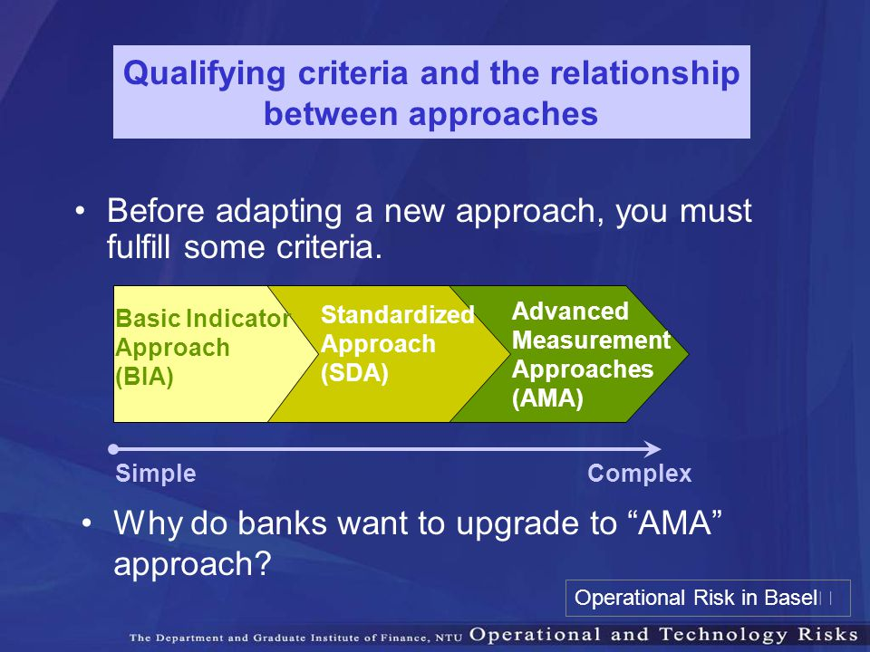 Qualifying criteria and the relationship between approaches Before adapting a new approach, you must fulfill some criteria. Standardized Approach (SDA