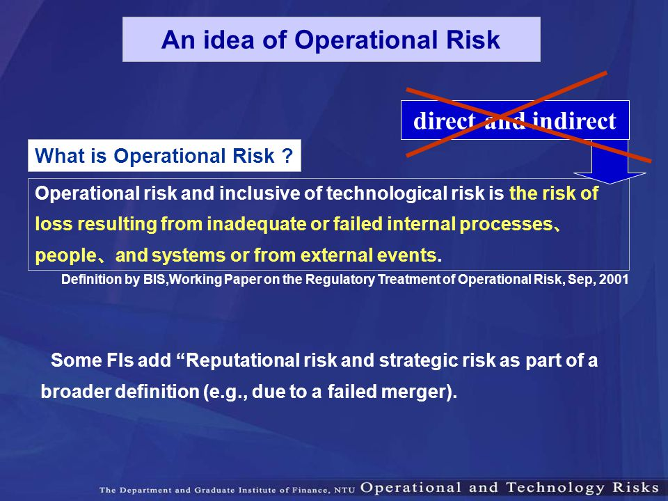 What is Operational Risk ? Operational risk and inclusive of technological risk is the risk of loss resulting from inadequate or failed internal proce