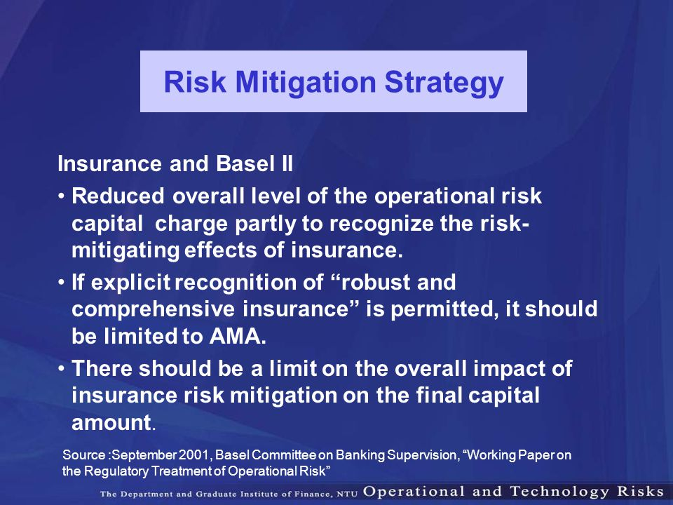 Risk Mitigation Strategy Insurance and Basel II Reduced overall level of the operational risk capital charge partly to recognize the risk- mitigating