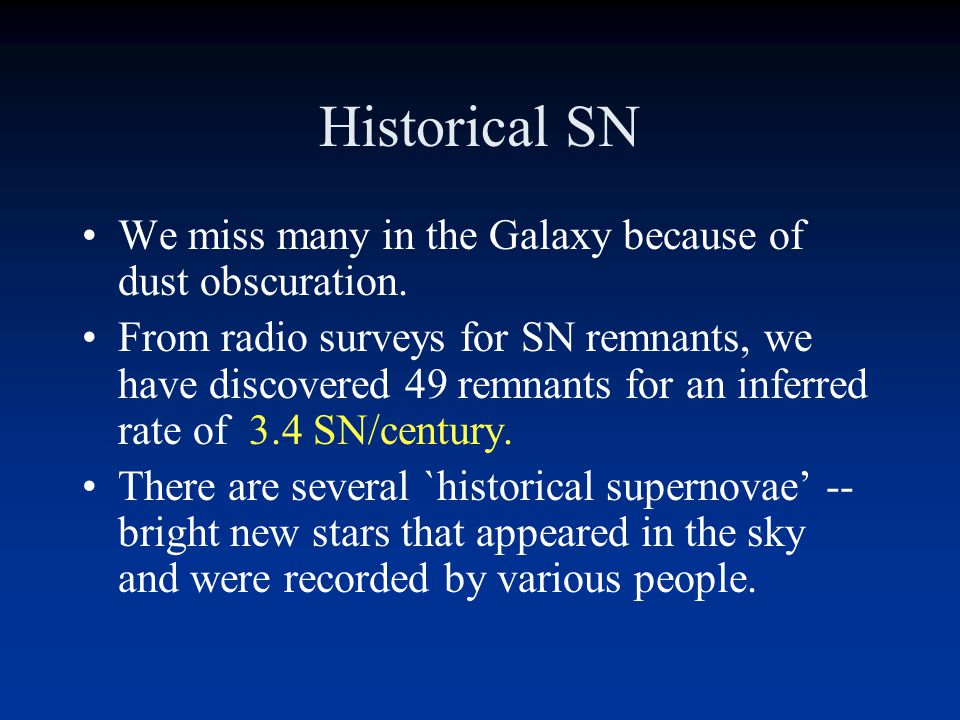 Historical Supernovae There are more than 2500 SN that have been seen in other galaxies in the last 100 years. Based on other spiral galaxies, a big s