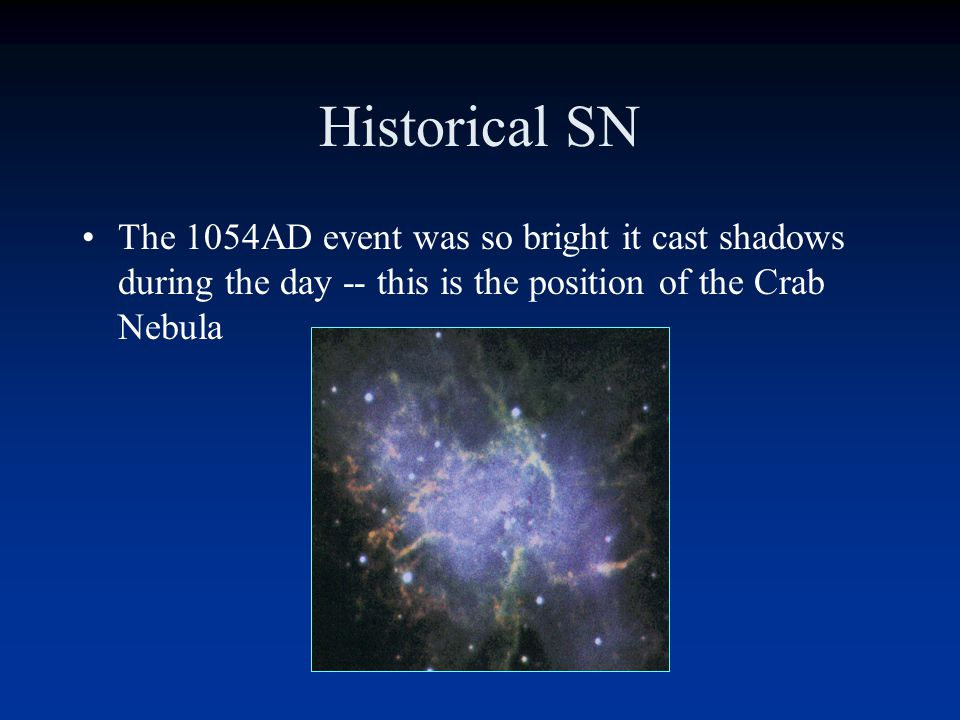 Historical SN For all the guest stars, point a modern telescope at the position and see a rapidly-expanding shell of material. In two cases, the remna
