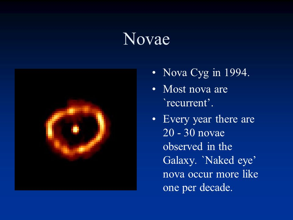 Novae Nova Cyg (1992) illuminated a cloud of nearby Hydrogen gas. The expanding shell of the nova could be seen a few years later with HST.