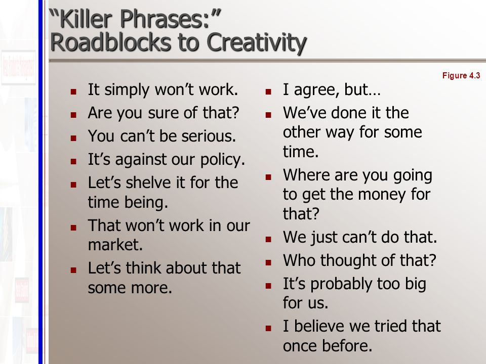 Killer Phrases: Roadblocks to Creativity It simply won't work.