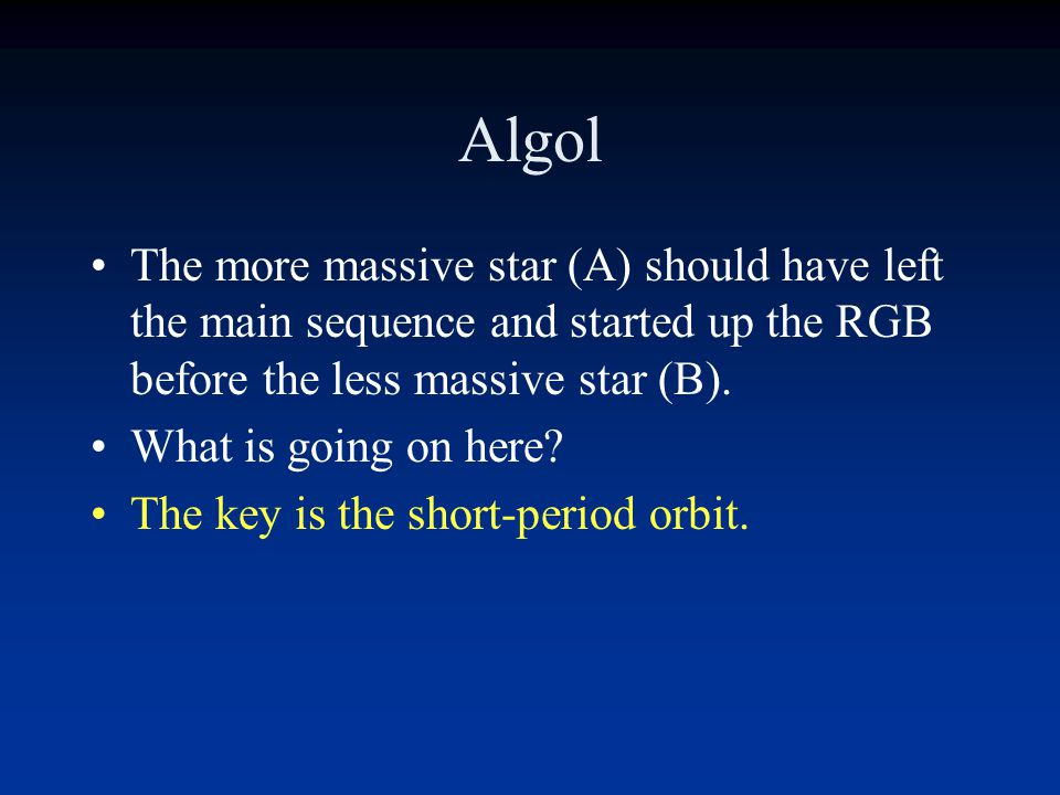 The Algol Mystery Algol is a double-lined eclipsing binary system with a period of about 3 days (very short).