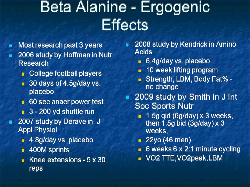 Beta Alanine - Ergogenic Effects Most research past 3 years 2006 study by Hoffman in Nutr Research College football players 30 days of 4.5g/day vs. pl