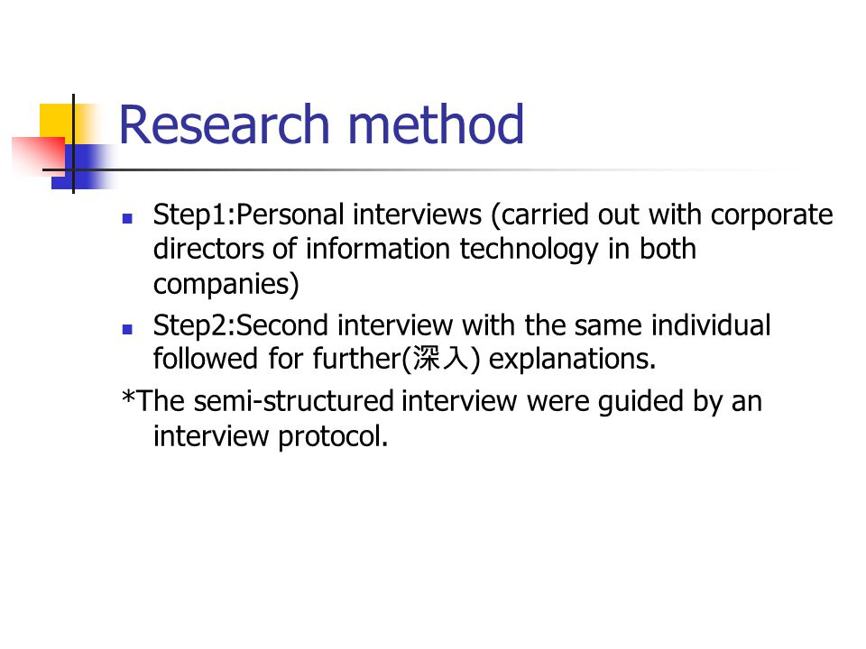 Research method Step1:Personal interviews (carried out with corporate directors of information technology in both companies) Step2:Second interview with the same individual followed for further( 深入 ) explanations.