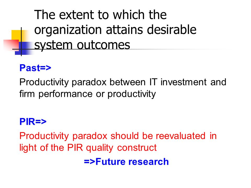 Past=> Productivity paradox between IT investment and firm performance or productivity PIR=> Productivity paradox should be reevaluated in light of the PIR quality construct =>Future research The extent to which the organization attains desirable system outcomes