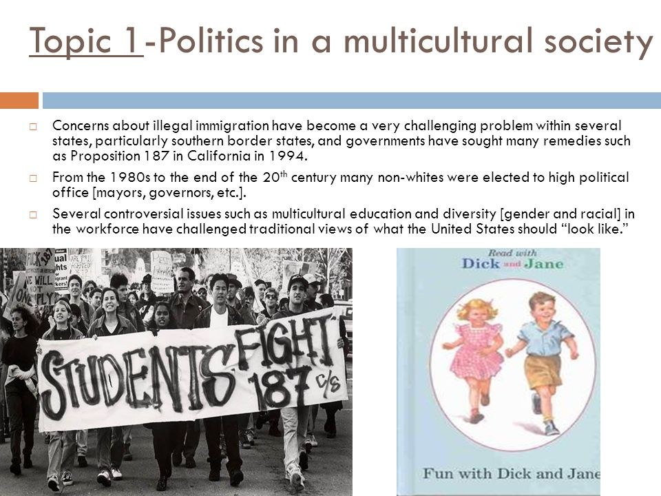 Topic 1-Politics in a multicultural society  Concerns about illegal immigration have become a very challenging problem within several states, particularly southern border states, and governments have sought many remedies such as Proposition 187 in California in 1994.
