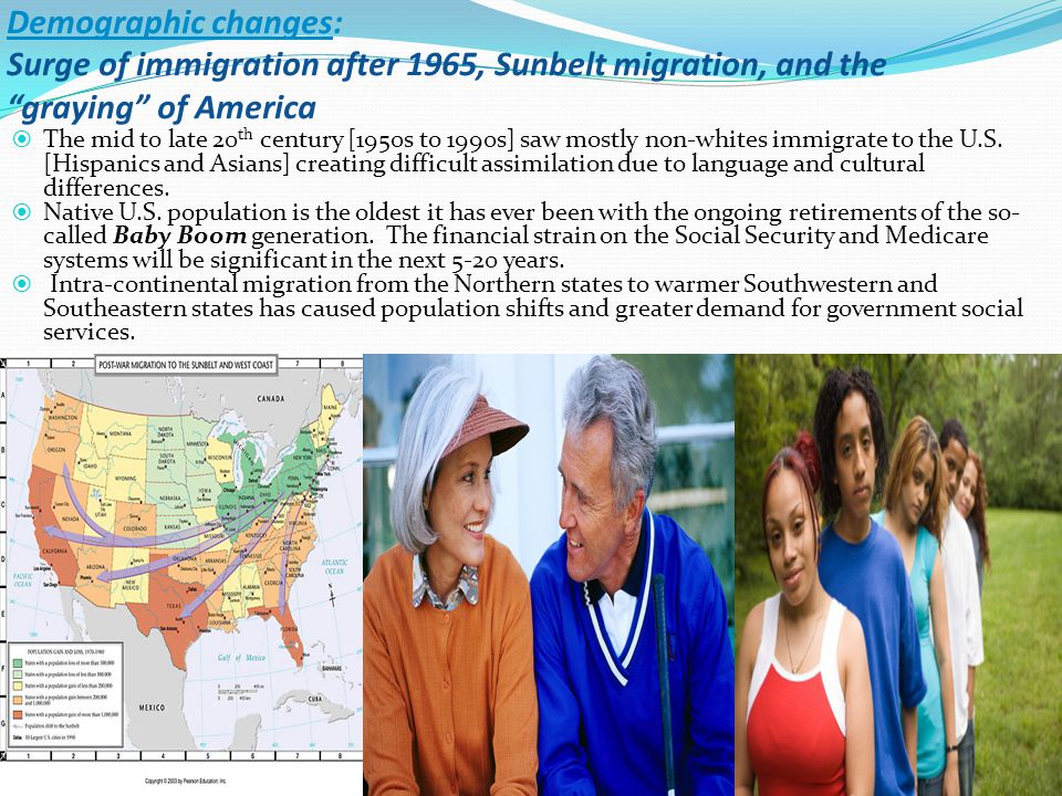 Demographic changes: Surge of immigration after 1965, Sunbelt migration, and the graying of America  The mid to late 20 th century [1950s to 1990s] saw mostly non-whites immigrate to the U.S.