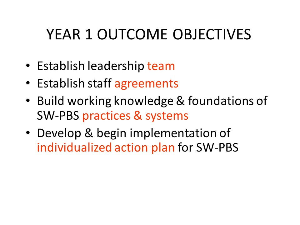 YEAR 1 OUTCOME OBJECTIVES Establish leadership team Establish staff agreements Build working knowledge & foundations of SW-PBS practices & systems Develop & begin implementation of individualized action plan for SW-PBS