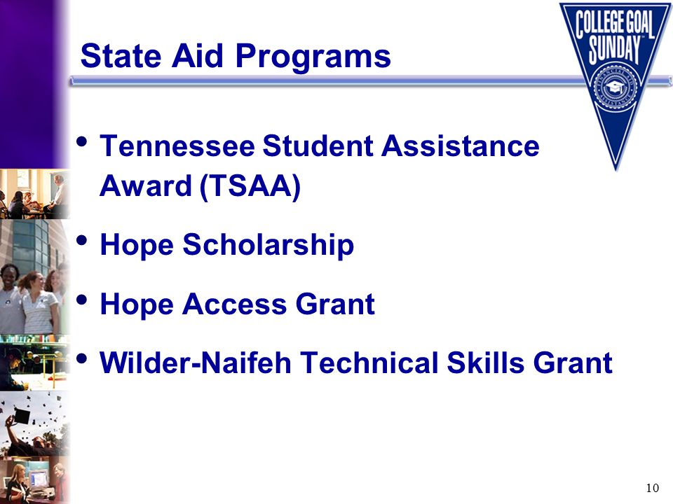 10 State Aid Programs Tennessee Student Assistance Award (TSAA) Hope Scholarship Hope Access Grant Wilder-Naifeh Technical Skills Grant