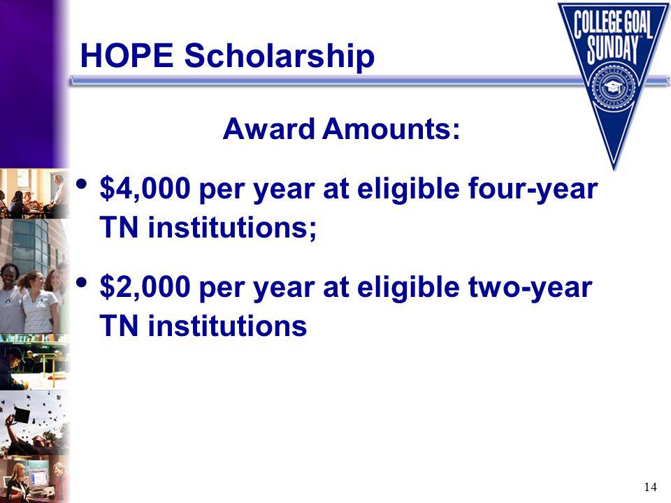 14 HOPE Scholarship Award Amounts: $4,000 per year at eligible four-year TN institutions; $2,000 per year at eligible two-year TN institutions