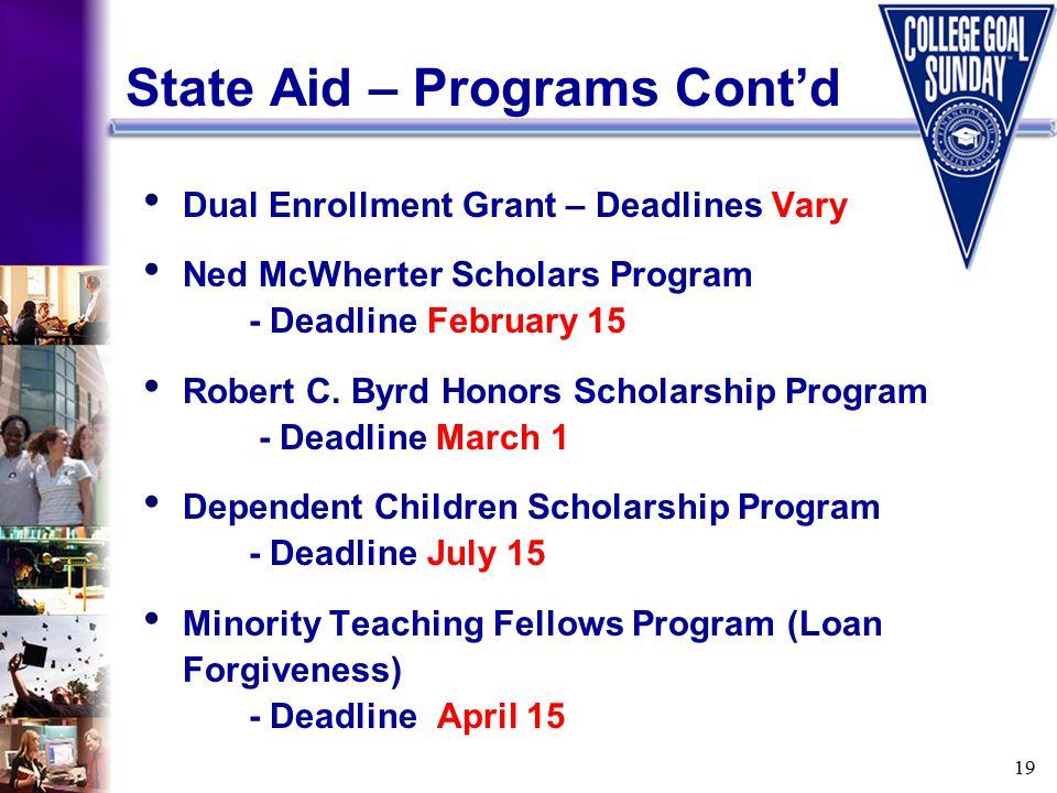19 State Aid – Programs Cont'd Dual Enrollment Grant – Deadlines Vary Ned McWherter Scholars Program - Deadline February 15 Robert C. Byrd Honors Scho
