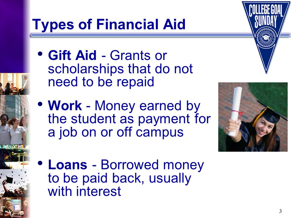 3 Types of Financial Aid Gift Aid - Grants or scholarships that do not need to be repaid Work - Money earned by the student as payment for a job on or off campus Loans - Borrowed money to be paid back, usually with interest