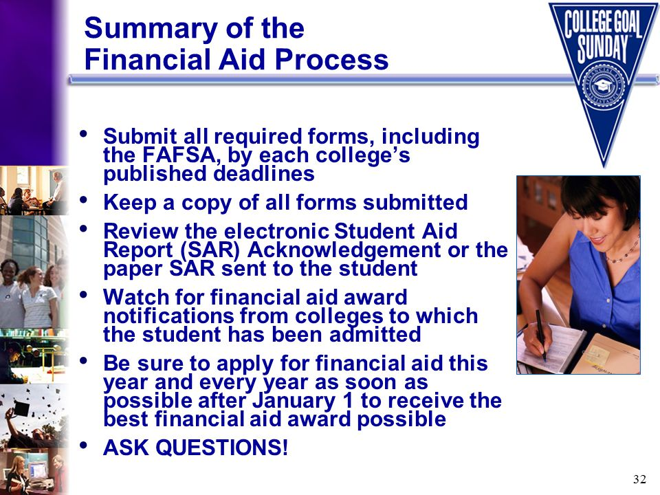32 Summary of the Financial Aid Process Submit all required forms, including the FAFSA, by each college's published deadlines Keep a copy of all forms submitted Review the electronic Student Aid Report (SAR) Acknowledgement or the paper SAR sent to the student Watch for financial aid award notifications from colleges to which the student has been admitted Be sure to apply for financial aid this year and every year as soon as possible after January 1 to receive the best financial aid award possible ASK QUESTIONS!