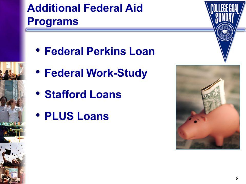 9 Federal Perkins Loan Federal Work-Study Stafford Loans PLUS Loans Additional Federal Aid Programs