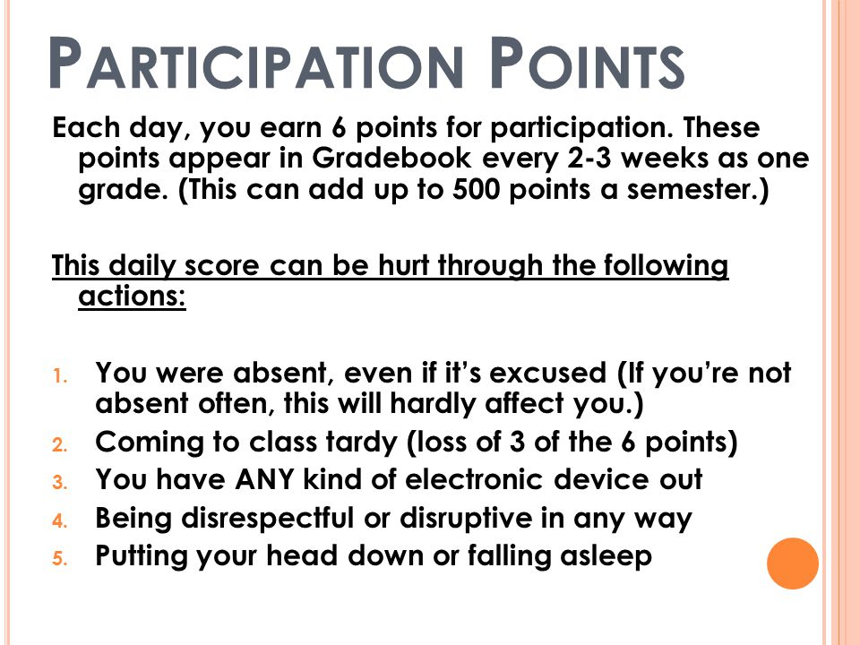 P ARTICIPATION P OINTS Each day, you earn 6 points for participation.