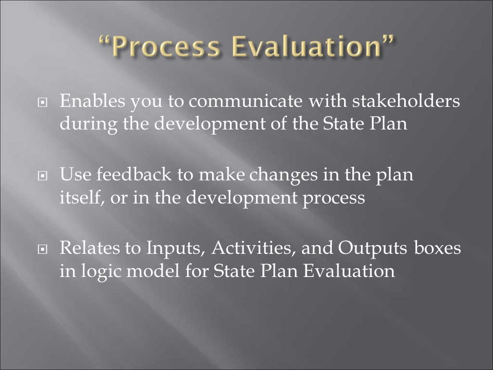  Enables you to communicate with stakeholders during the development of the State Plan  Use feedback to make changes in the plan itself, or in the d